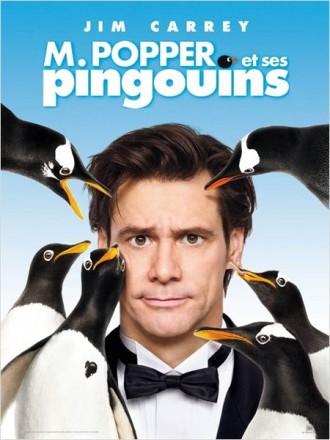 Affiche du film Mr Popper et ses pingouins. Nous y voyons Jim Carrey en smoking face à l'objectif, entouré de pingouins.