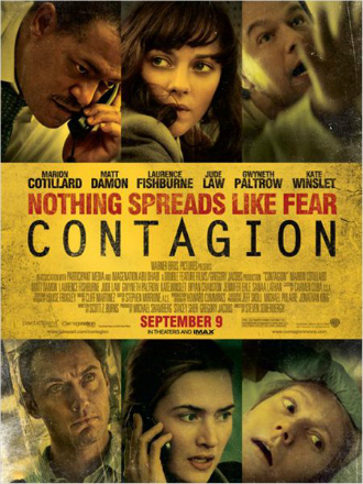 Affiche du film Contagion réalisé par Steven Soderbergh. L'affiche est jaunie pour représenter le sujet du film et évoquer la panique. Nous voyons les portraits des interprètes du film, qui semblent tous en alerte, malades ou inquiets.