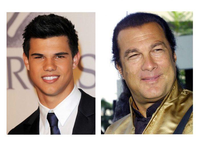 Montage évoquant les ressemblances entre Taylor Lautner et Steven Seagal.