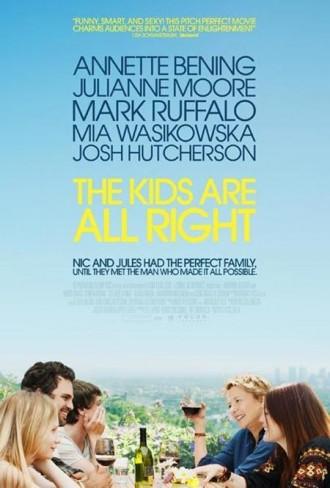 Affiche du film The Kids Are All Right réalisé par Lisa Chodolenko. Nous y voyons les personnages rire et discuter autour d'un repas. Au second plan, Los Angeles est recouverte par un grand ciel bleu.