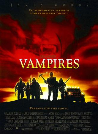 Poster du film Vampires réalisé par John Carpenter. Nous y voyons la bande de chasseurs de vampires au moment d'un lever de soleil. Au dessus d'eux, nous voyons le visage du grand méchant du film.