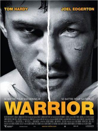 Affiche du film Warrior sur laquelle nous voyons les visages de Tom Hardy et Joel Edgerton sont mis côte à côte.