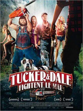 Affiche de Tucker et Dale fightent le mal sur laquelle nous découvrons les personnages principaux sur un montage sanglant.