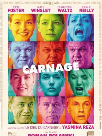 Affiche du film Carnage sur laquelle nous découvrons plusieurs clichés des quatre acteurs principaux face à l'objectif, affichant des émotions différentes.