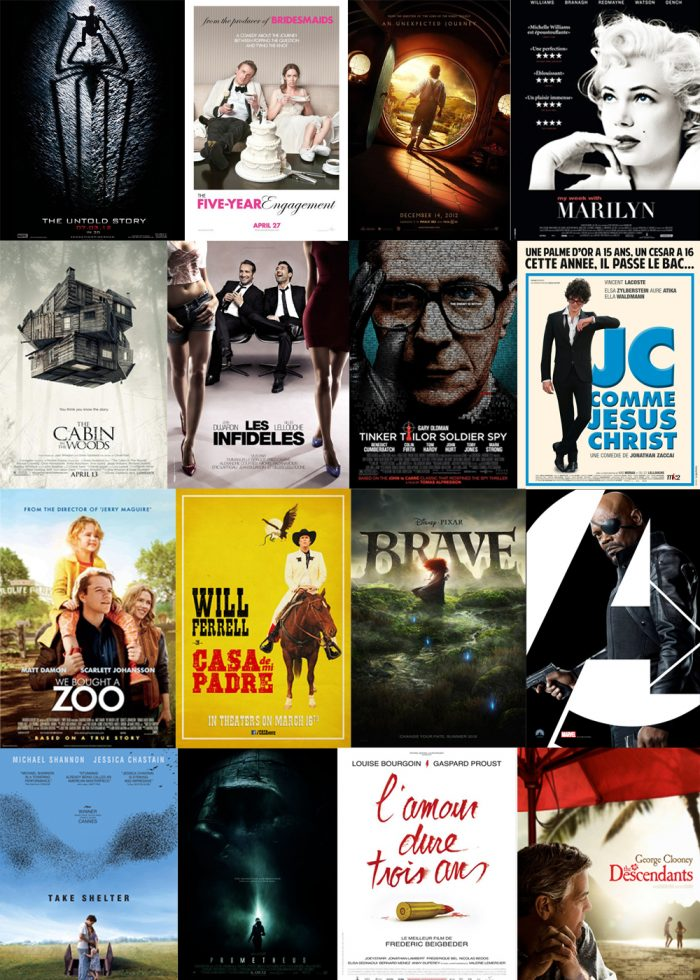Montage d'affiches des films sortis en 2012.