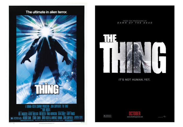 Affiches de The Thing de John Carpenter et du récent prequel sur laquelle nous découvrons la créature dans une combinaison des scientifiques.