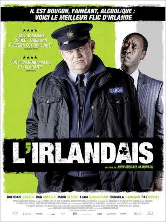 Affiche du film L'irlandais de John Michael McDonagh sur laquelle Brendan Gleeson se tient devant Don CHeadle qui le regarde bizarrement.