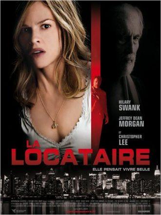 Affiche du film La Locataire sur laquelle nous découvrons les trois personnages principaux sur un montage ténébreux et inquiétant.