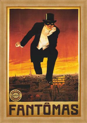 Affiche de Fantomas sur laquelle le héros est immense et surplombe Paris