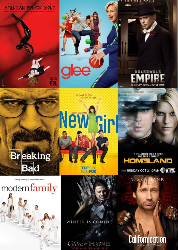 Affiche des séries nommées pour les Golden Globe 2012.