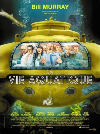 Affiche de La Vie Aquatique de Wes Anderson sur laquelle nous découvrons tous les personnages principaux menés par Bill Murray dans un sous marin.