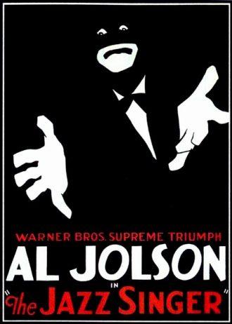 Affiche du Chanteur de Jazz avec AL Jolson sur laquelle un homme dessiné chante devant un fond noir.