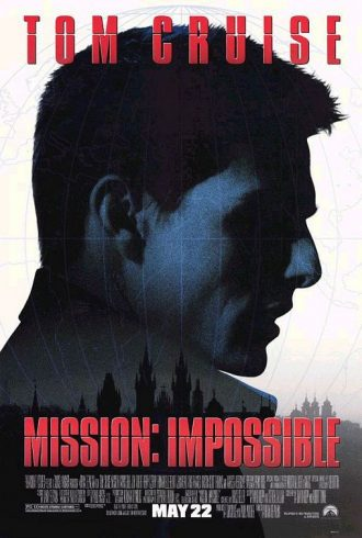 Affiche de Mission Impossible de Brian de Palma sur laquelle on distingue le profil de Tom Cruise dans l'univers de l'espionnage.
