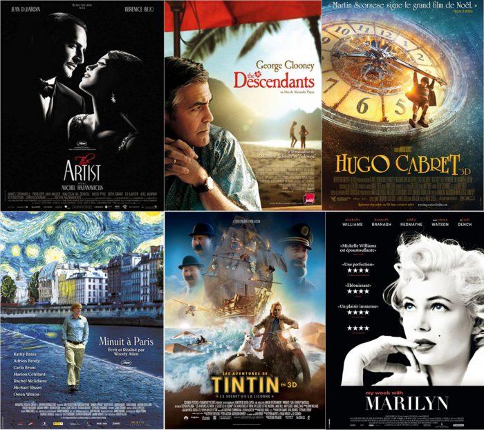 Montage des principaux nommés aux Golden Globes 2012.