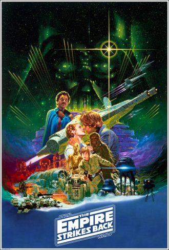 Affiche de L'Empire contre-attaque sur laquelle nous découvrons les principaux éléments du film sur un montage.