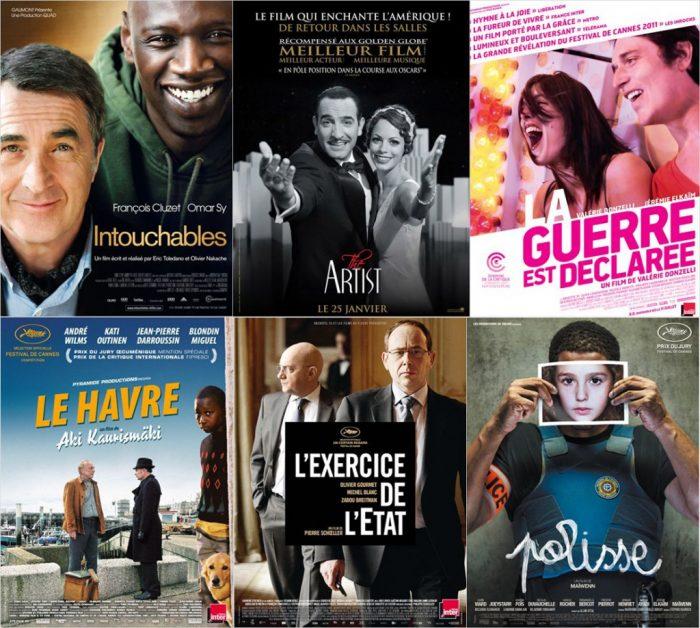 Montage des affiches de certains des nommés aux Césars 2012.