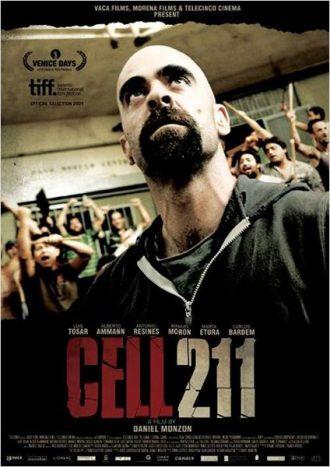 Affiche de Cellule 211 sur laquelle Luis Tosar est pris au milieu de la prison en pleine émeute.