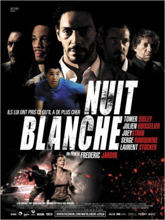 Affiche du film Nuit Blanche de Frédéric Jardin sur laquelle nous voyons tous les personnages principaux.