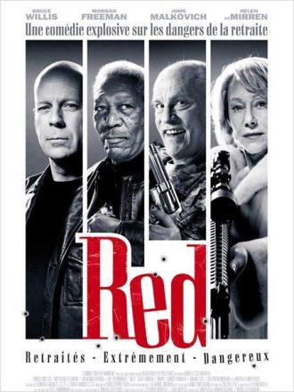 Affiche du film RED sur laquelle nous découvrons un portrait côte à côte des quatre personnages principaux.