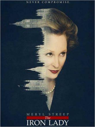 Affiche de La Dame de Fer sur laquelle nous découvrons le portrait de Meryl Streep greffé au Palais de Westminster.
