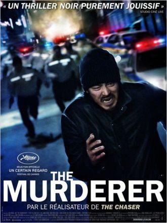 Affiche du film The Murderer sur laquelle un homme est poursuivi par des policiers.