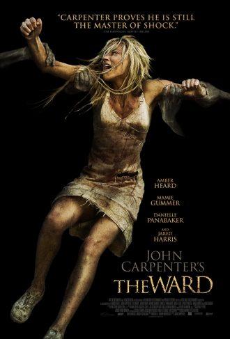 Affiche du film The Ward de John Carpenter sur laquelle Amber Heard est attrapée par des fantômes et crie.