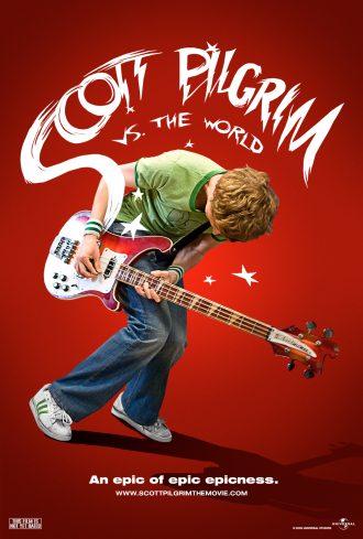 Affiche de Scott Pilgrim d'Edgar Wright sur laquelle le héros interprété par Michael Cera joue de la guitare électrique.