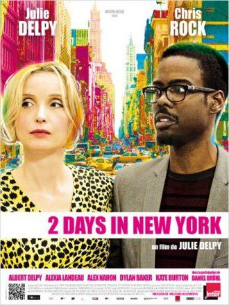 Affiche du film 2 Days In New York sur laquelle Julie Delpy et Chris Rock sont côte à côte devant un New York très éclairé.