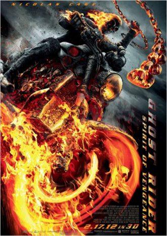 Affiche de Ghost Rider L'esprit de vengeance sur laquelle le Rider chevauche sa moto à toute allure dans un univers très sombre.