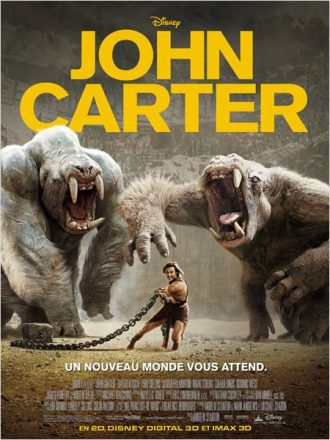 Affiche de John Carter sur laquelle le héros affronte deux étranges créatures dans une arène.