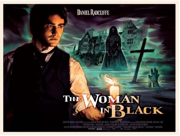 Affiche vintage évoquant les grands succès de la Hammer de La dame en noir.