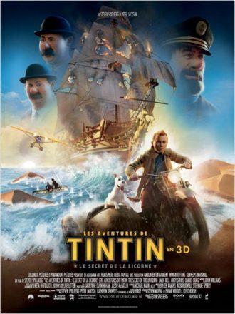 Affiche de Les aventures de Tintin : Le secret de la Licorne réalisé par Steven Spielberg sur laquelle nous découvrons les décors et les personnages principaux sur un montage.