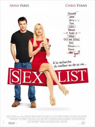Affiche de Sex List sur laquelle Chris Evans et Anna Faris sont côte à côte devant un fond blanc.