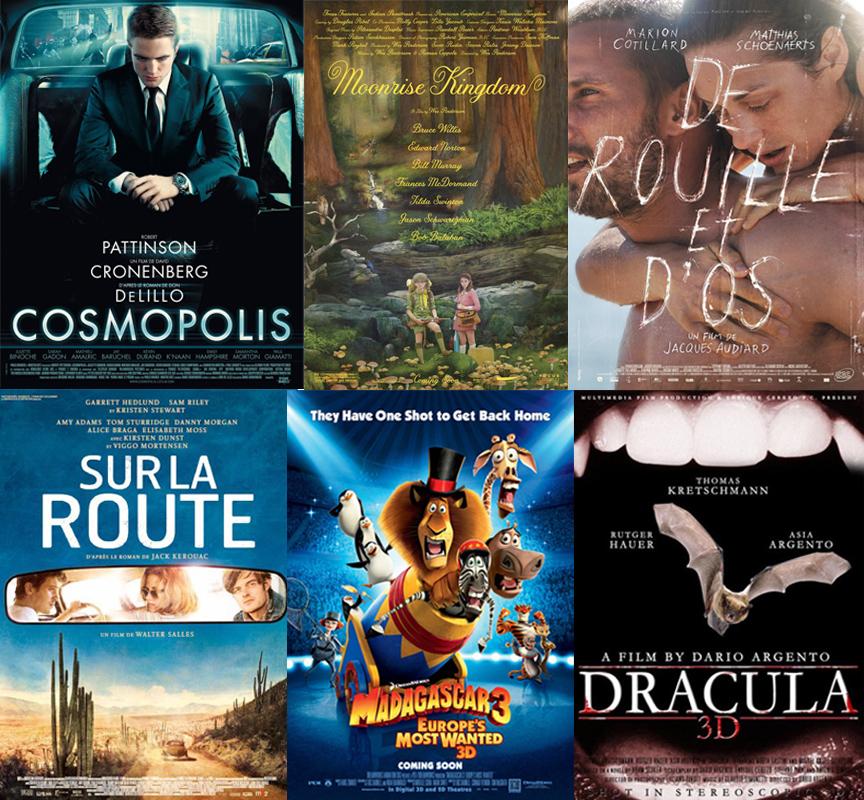 Photo montage de quelques films sélectionnés au Festival de Cannes 2012.