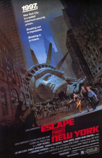 Affiche du film New York 1997 sur laquelle la tête de la Statue de la Liberté est au sol dans une ville délabrée alors que de nombreuses personnes courent en furie dans la rue.