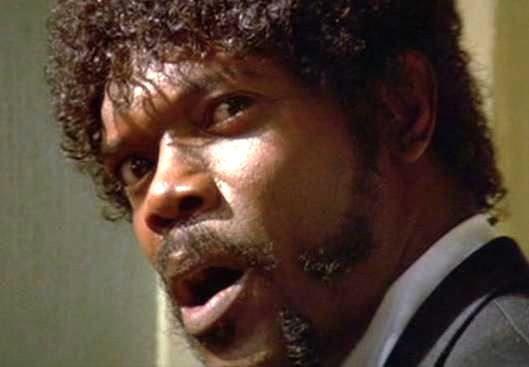 Photo de Samuel L. Jackson récitant son discours dans le film Pulp Fiction de Quentin Tarantino.
