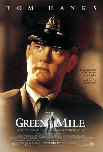 Affiche du film La Ligne Verte de Frank Darabont sur laquelle Tom Hanks de profil en tenue de gardien de prison, regardant au dessus de lui, est dessiné.