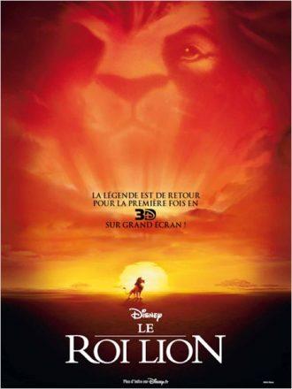Affiche de la restauration du Roi Lion en 3D sur laquelle Simba est au milieu de la savane alors que l'ombre de Mufasa est visible dans le ciel.