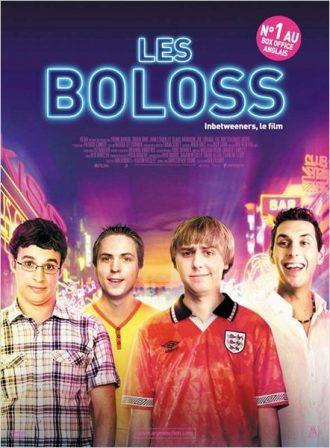 Affiche du film Les Boloss sur laquelle les quatre amis dans une rue où la fête semble endiablée.