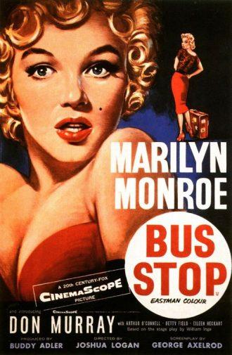 Affiche dessinée du film Bus Stop de Joshua Logan sur laquelle Marylin Monroe est dessinée de face puis sur un dessin plus petit sur lequel elle se retourne, munie d'une valise.