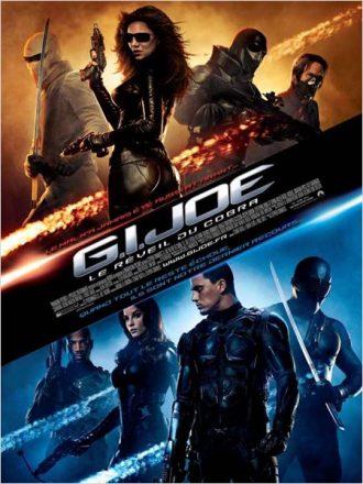 Affiche du film G.I. Joe : Le Réveil du Cobra sur laquelle nous distinguons les méchants en haut et les gentils en bas de l'affiche, menés respectivement par Sienna Miller et Channing Tatum.