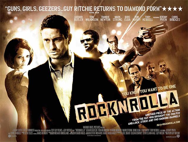 Affiche bannière du film RocknRolla sur laquelle tous les personnages principaux sont présents sur un montage photo.