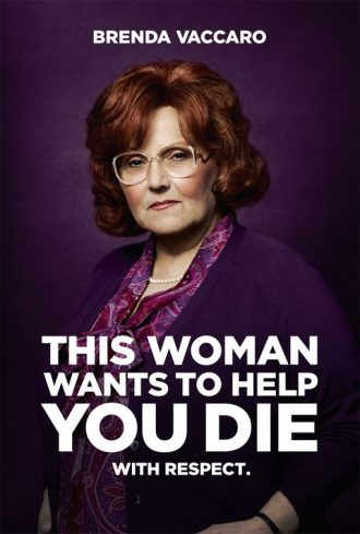 "Affiche du téléfilm You don't know Jack qui est un portrait du personnage interprété par Brenda Vaccaro. Le slogan de l'affiche est le suivant : ""This woman wants to help you die. With Respect."""
