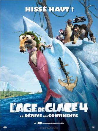 Affiche du film L'âge de glace 4 - La dérive des continents sur laquelle Scrat sert de décoration à la proue d'un bateau.