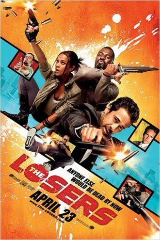 Affiche du film The Losers sur laquelle nous découvrons les personnages principaux sur un montage photo qui présage beaucoup d'action.