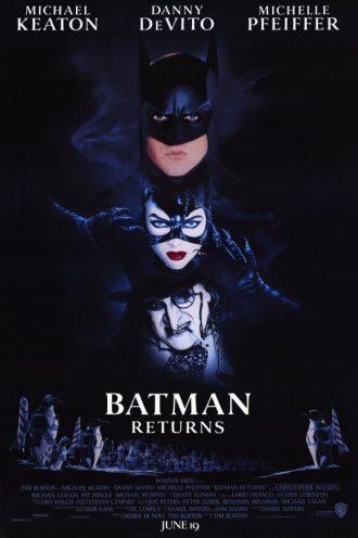 Affiche du film Batman - Le Défi de Tim Burton. Dans l'obscurité, nous distinguons les visages de Batman, Catwoman et le Pingouin. En bas de l'affiche, des pingouins sont visibles.
