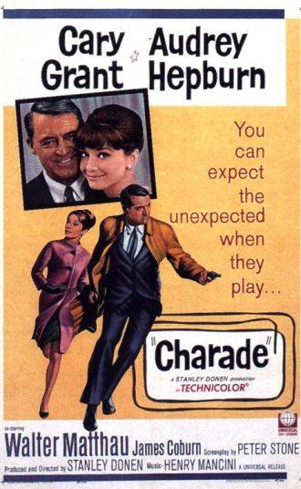 Affiche du film Charade réalisé par Stanley Donen sur laquelle nous découvrons Cary Grant et Audrey Hepburn sur un montage photo coloré et intrigant.