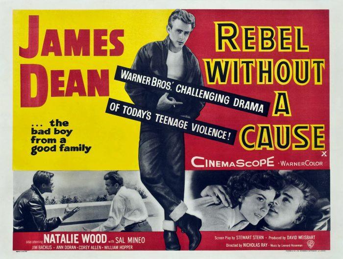 Affiche de La Fureur de Vivre de Nicholas Ray sur laquelle nous retrouvons la pose légendaire de James Dean ainsi qu'un combat avec un autre protagoniste et une étreinte avec Natalie Wood.