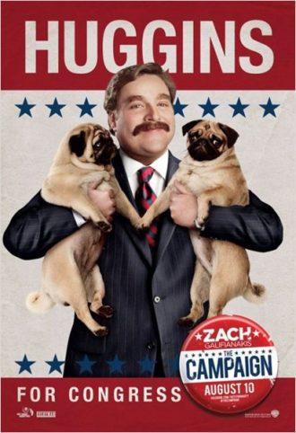 Affiche promotionnelle du film Moi, député construite comme une affiche de candidature politique. Zach Galifianakis y tient ses deux chiens fièrement.