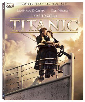 Pochette du Blu Ray de Titanic de James Cameron. Elle reprend la célèbre scène sur laquelle Kate Winslet et Leonardo DiCaprio s'étreignent à l'avant du paquebot.